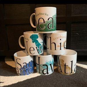 Set of six Starbucks city mug collector mugs